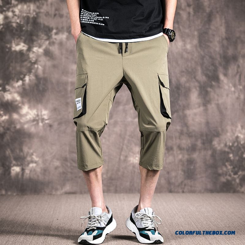 Leisure Tooling Pants Skinny Green Summer Loose Men's Short Pants Cropped Trousers Trend