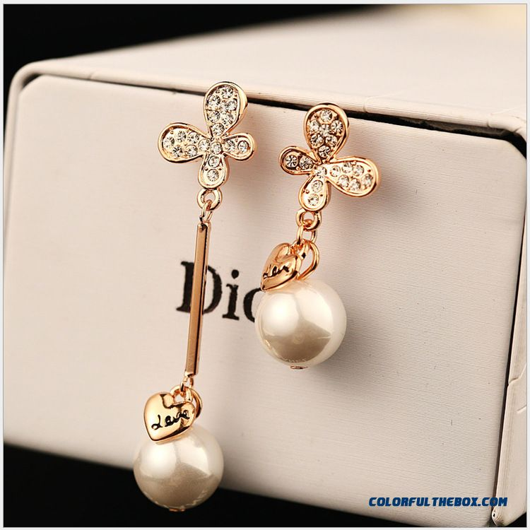 Length Asymmetry Lady Bow Pearl Earrings Gold Plated Diamond Ear Jewelry Women