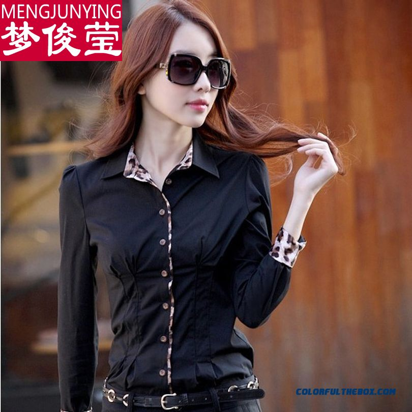Leopard Pattern Women Clothing Long-sleeved Slim Shirt Free Shipping
