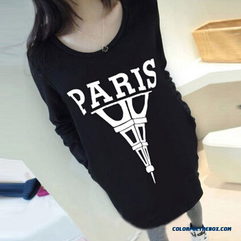 Letter Landscape Architecture Medium-long Bottoming Shirt Long-sleeved T-shirt Blouses