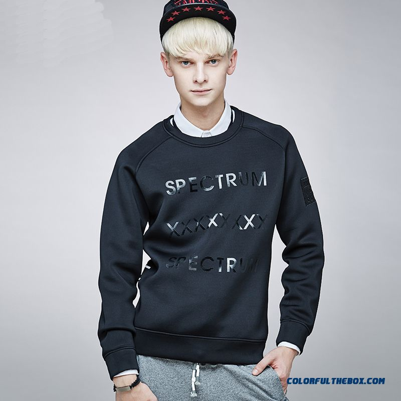 Letters Round Neck Cotton Men's Clothing Autumn Clothes Pullover Solid Color Sweatshirts