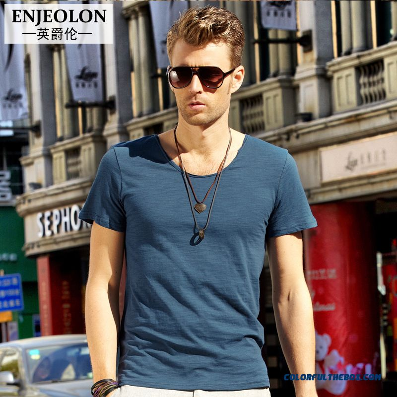 Lightweight Breathable Men Clothing Short-sleeved Tees Retro Simple Cotton U-neck
