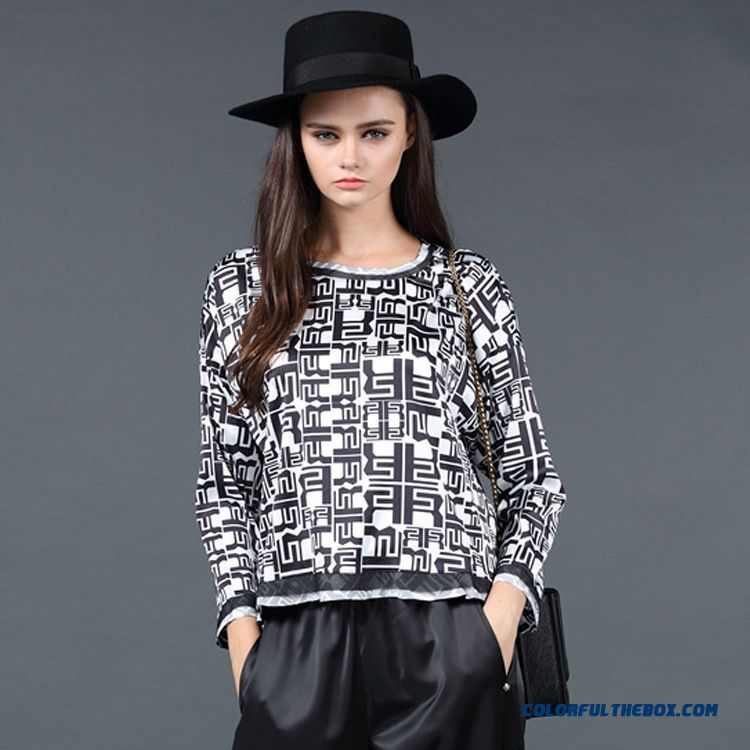 Limited-time Promotion Blouse Autumn Bottoming Printing Logo Women Pullover Long-sleeved Shirt