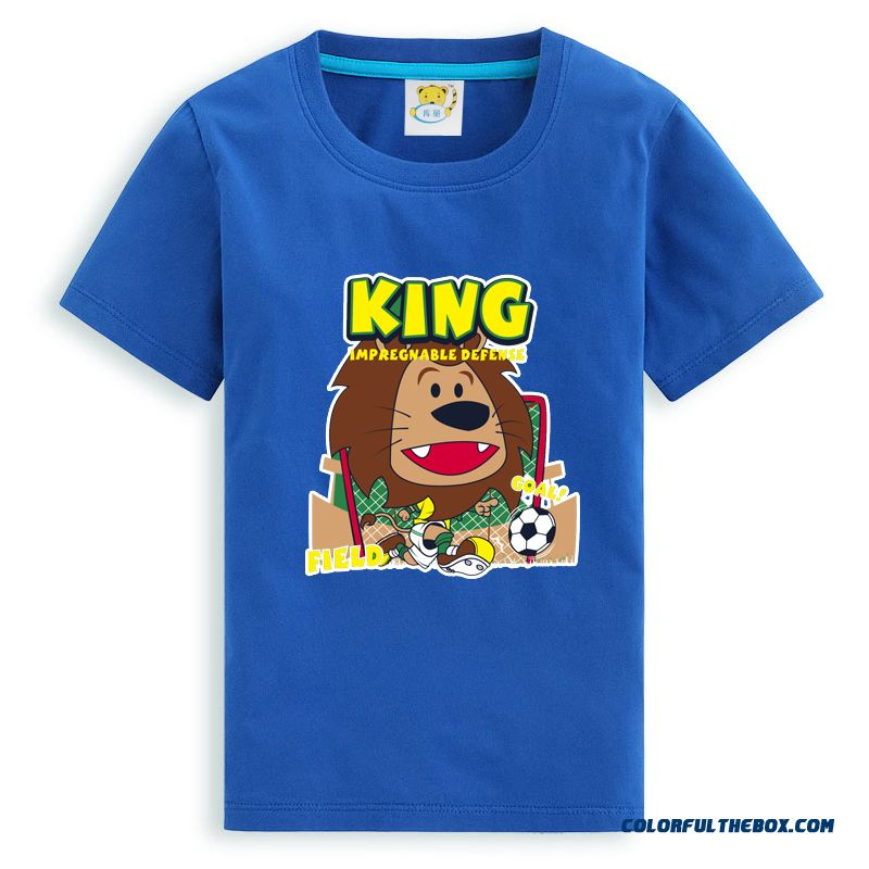 Lions Diego Kid's Cartoon Short Sleeve T Shirt Boy Cartoon Absorb Sweat Dry Summer