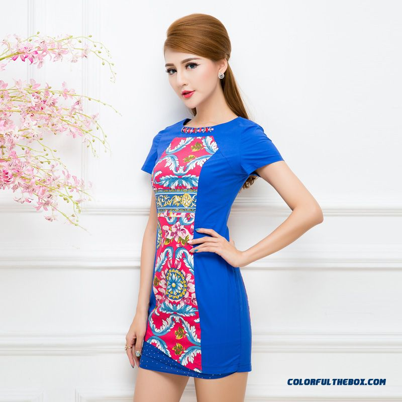 Literary Chinese Style Fashion Crew Neck Dress Women Clothing Good Quality