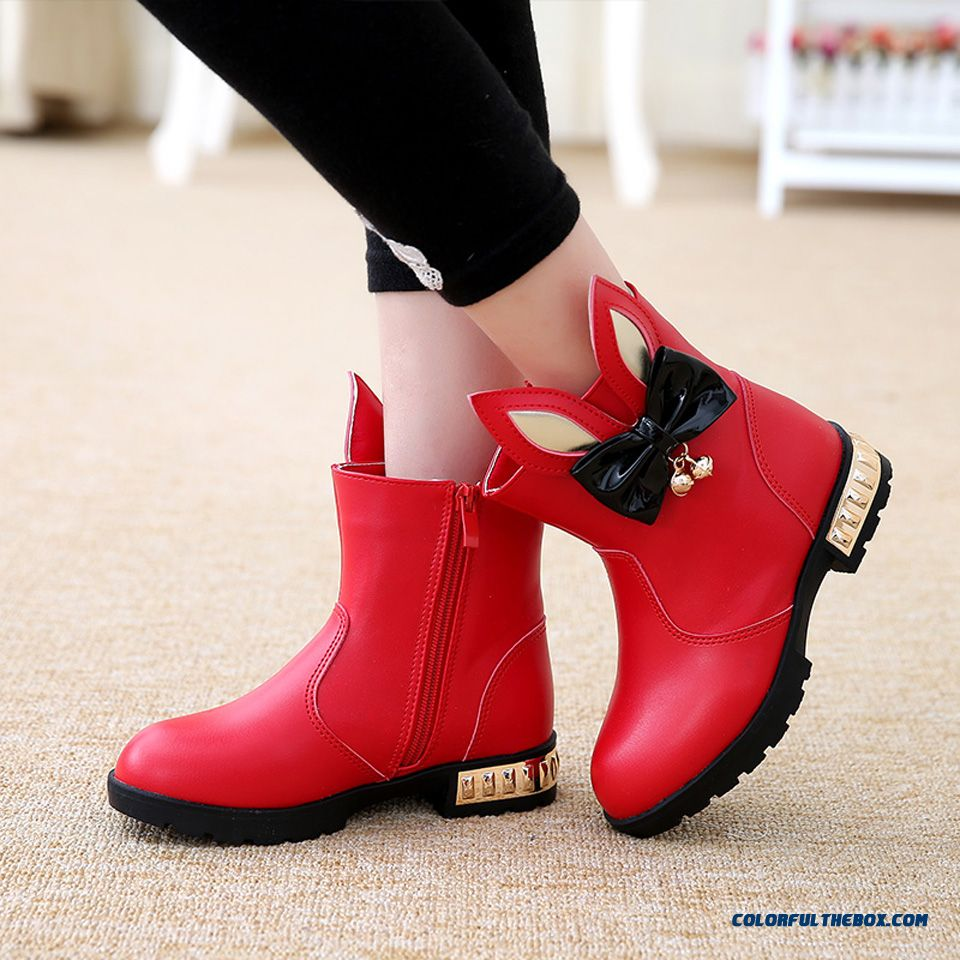 Little Girl Single Boots Orecchiette Bowknot Short Warm Boots Red Shoes