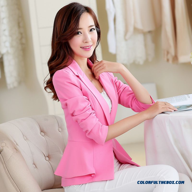Long Sleeve Casual Fashion Solid Color Small Suit Women Coats Designed Exclusively