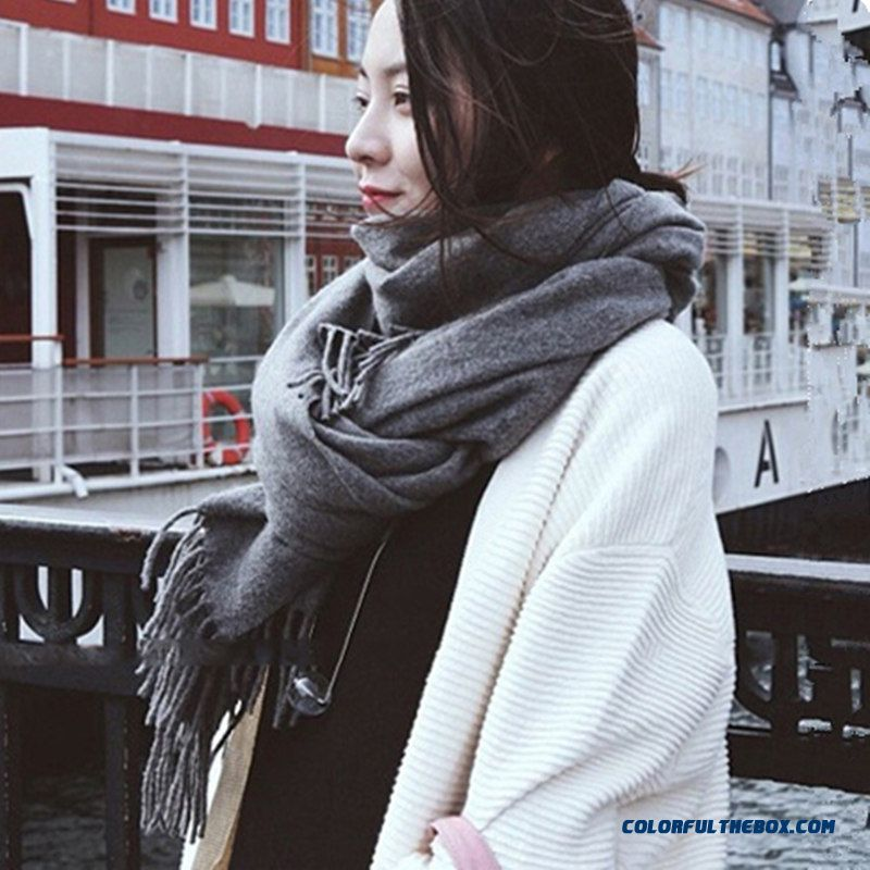 Long Thick Cashmere Shawl Dual-purpose Warm Scarf Student Girl Women Accessories