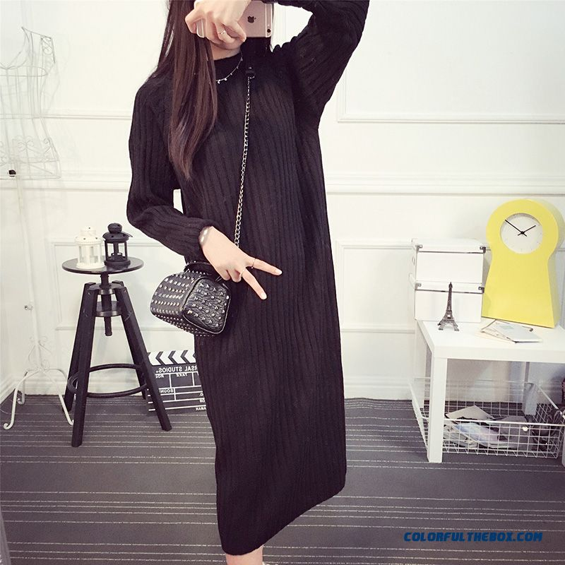 Long Women Sweater Round Neck Pull Blouson Bottoming Shirt Sweater Coat Green Grey Red