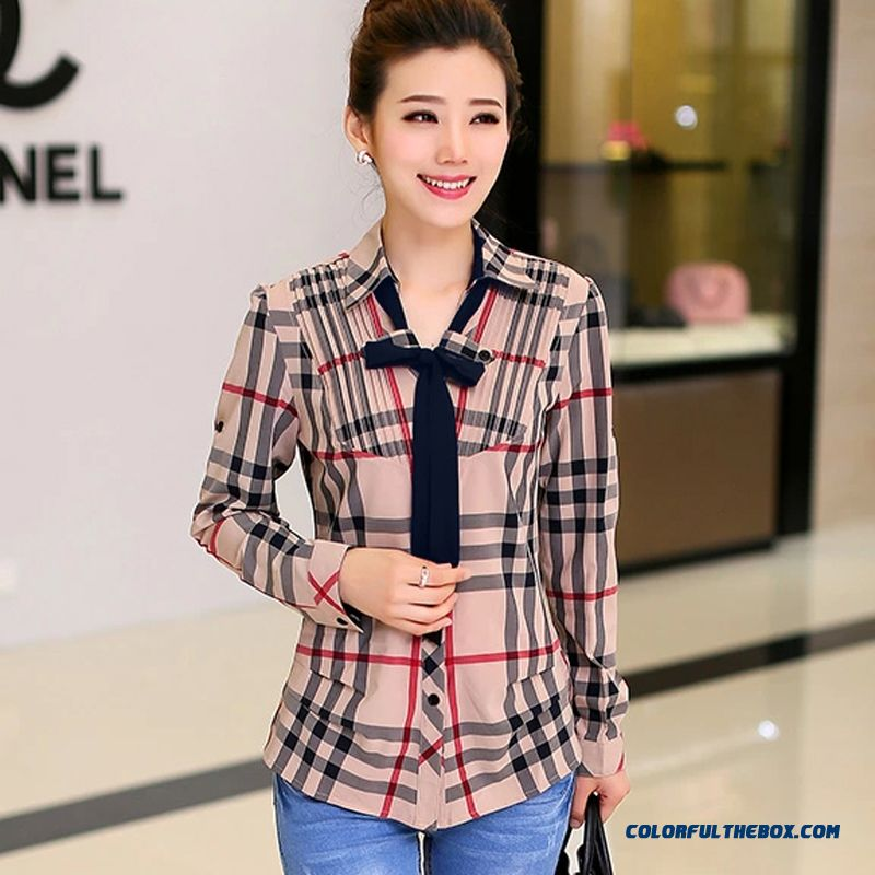 Long-sleeved Plaid Shirt Women Blouses Slim Chiffon Medium Sytle Free Shipping