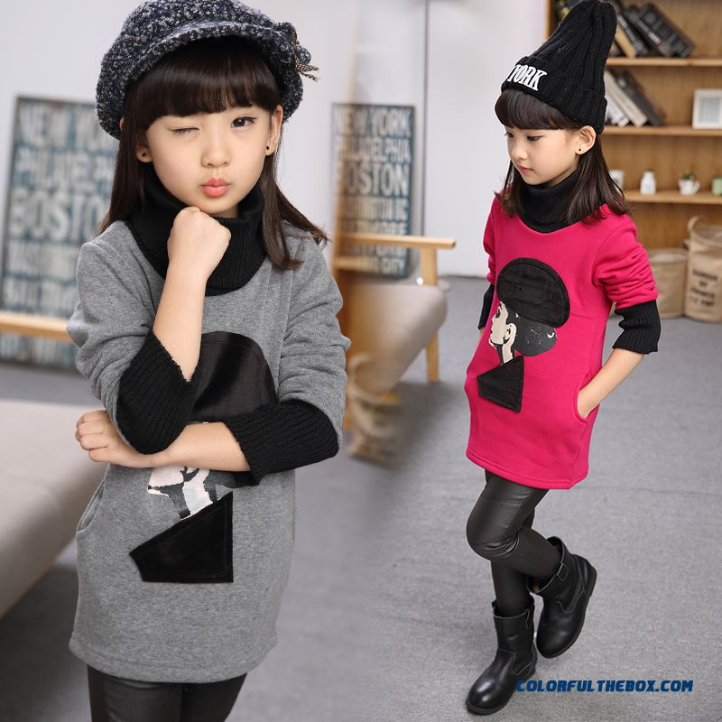 Long-sleeved T-shirt Add Velvet Clothing New Kids High Collar Primer Shirt Warm Sweatshirts For Girls Kids