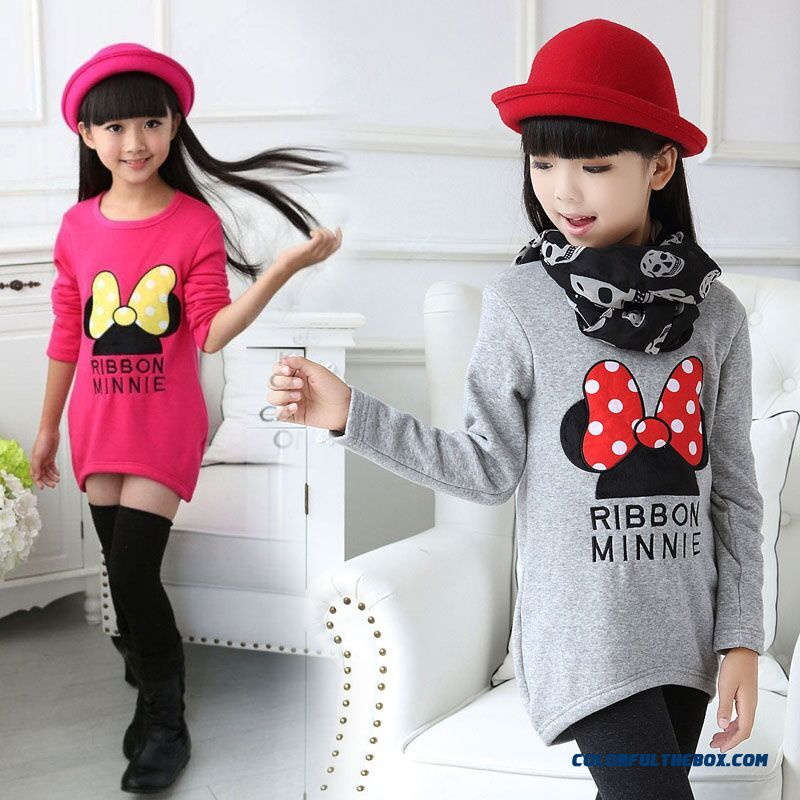 Long-sleeved T-shirt Medium-long Cotton T-shirt Kids Girls Bottoming Shirt
