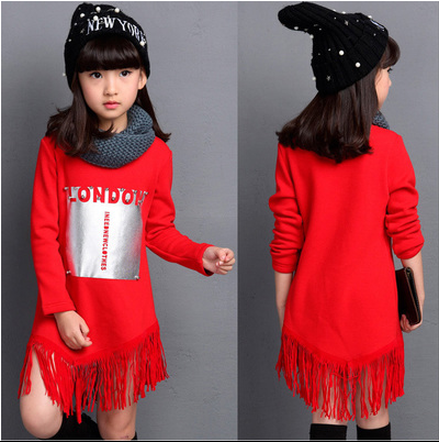 Long-sleeved T-shirt Mediun-long Kids Warm Coat Tassel Lap Fashionable Kids's Clothing Ren Black