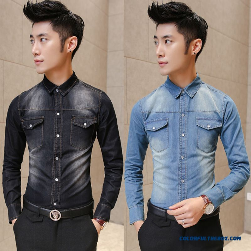 Long-sleevedl Render Unlined Upper Garment Thick Slim Denim Shirt Men's Clothing