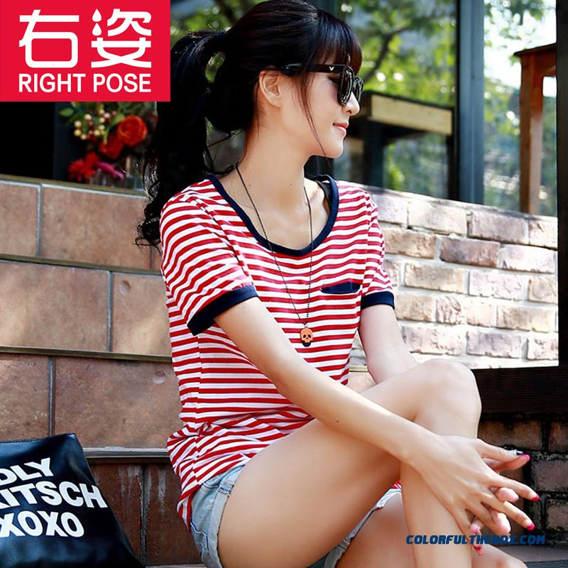 Loose Large Size Casual Slim And Thin Striped Short-sleeved T-shirt Shirt Women