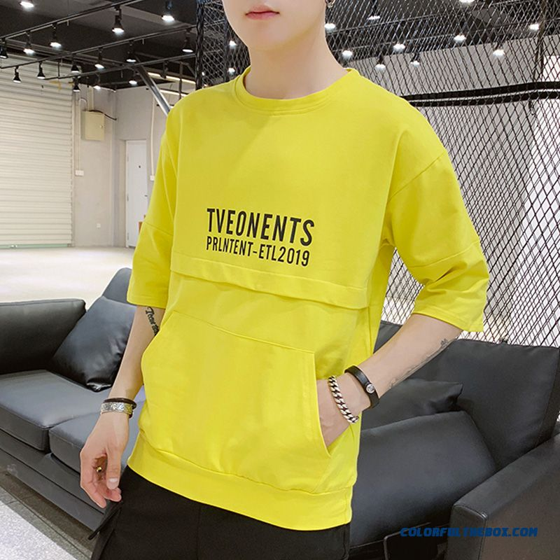 Loose Leisure 2019 Short Sleeve Men's Three Quarter Sleeve Summer Coat Yellow Round Neck Trend