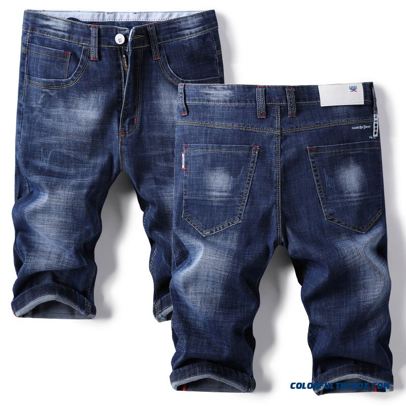 Loose Leisure Blue Summer Short Pants Men's Skinny Straight Slim