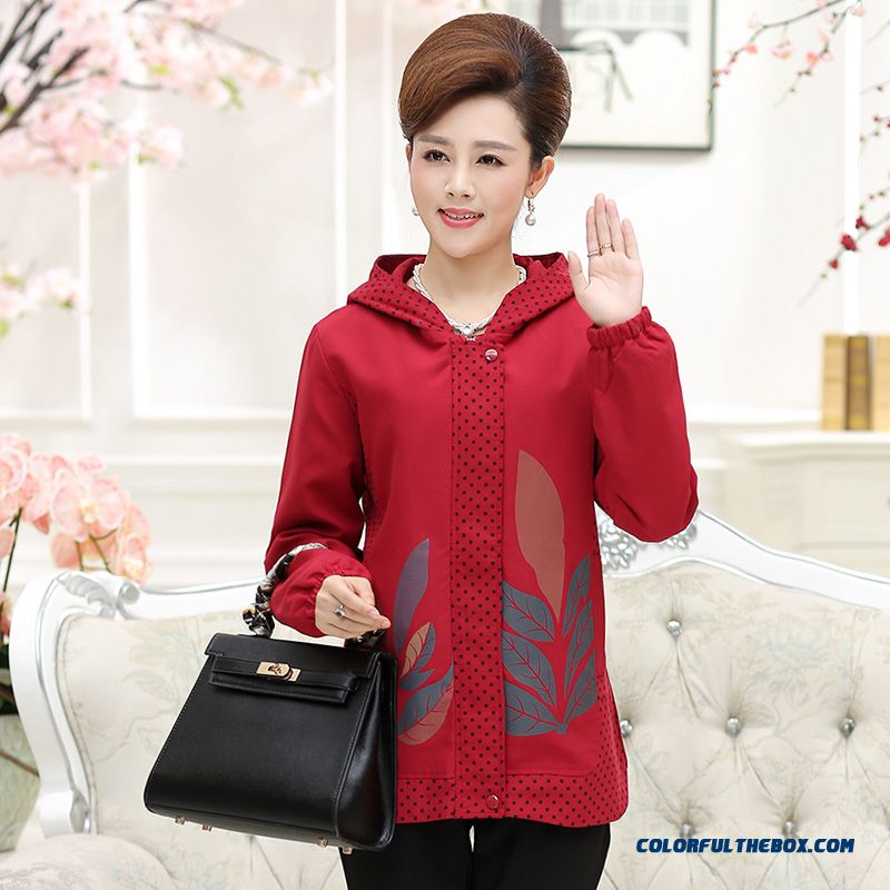 Loose Middle-aged Women Hooded Jacket Casual