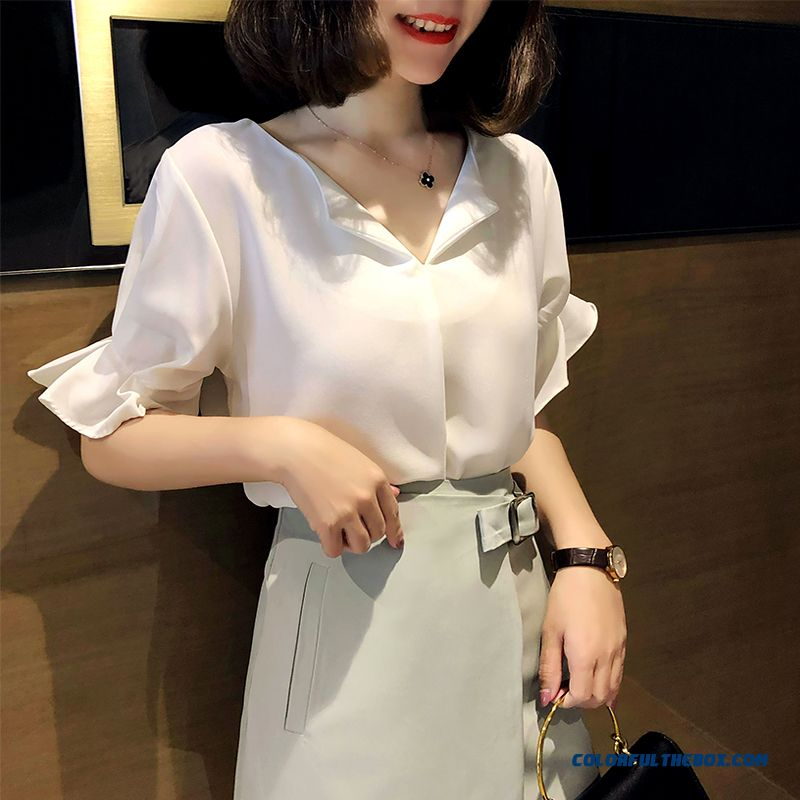 Loose New Women's Temperament Short Sleeve Design Coat Shirt Europe 2019 White Summer Chiffon