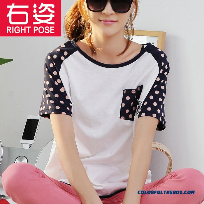 Loose Short-sleeved T-shirt Women Bat Sleeve Polka Dot Summer New Large Size