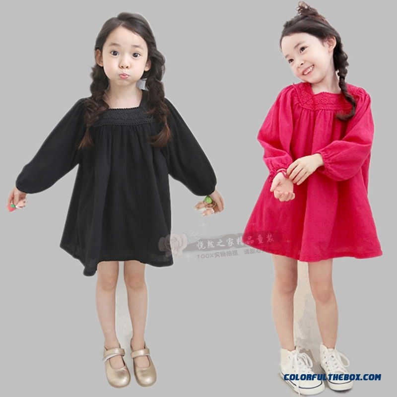 Loose Skirt Fashion Embroidery Collar Flower Girl Dress Kids Clothing Summer