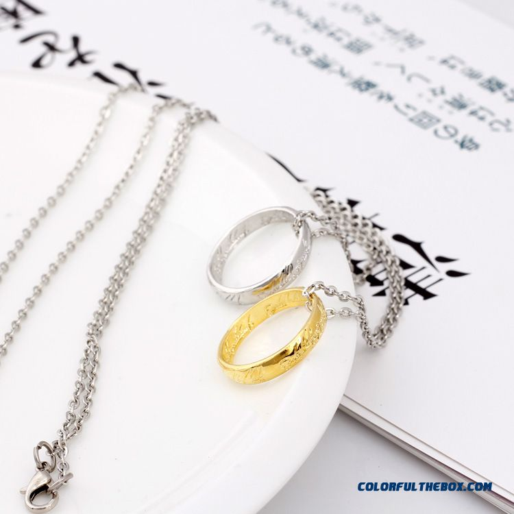 Lord Of The Rings Necklace Jewelry Factory Wholesale Women's Pendant Gold Silver