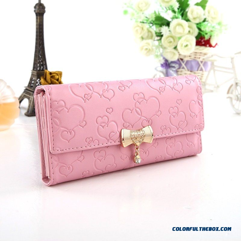 Love Pattern Bowknot Wallet Women Long Section With Zipper Fashion Clutch Free Shipping
