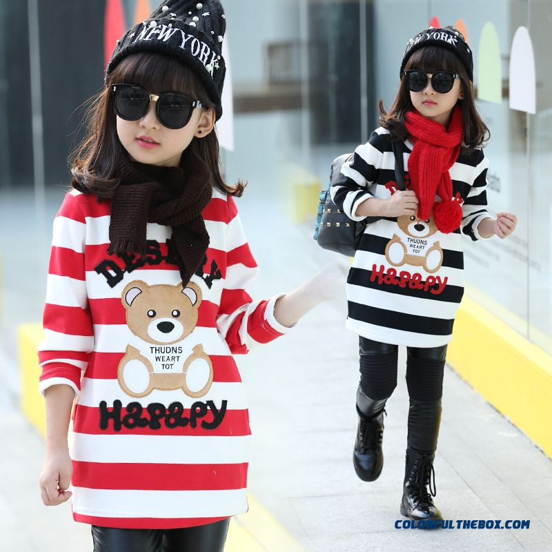 Lovely Girls Kids Thick Add Velvet Primer Shirt T-shirt Bear Pattern Medium-long Stripe - more images 1