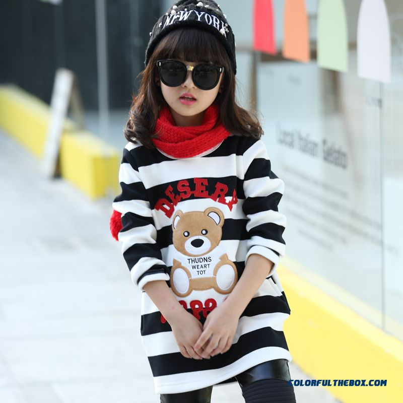 Lovely Girls Kids Thick Add Velvet Primer Shirt T-shirt Bear Pattern Medium-long Stripe - more images 2