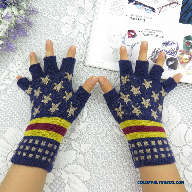 Lovely Kids Warm Winter Half-finger Typing Write Thin Section Fingerless Wool Half Finger Mittens Cashmere Knitwear Factory Outlets