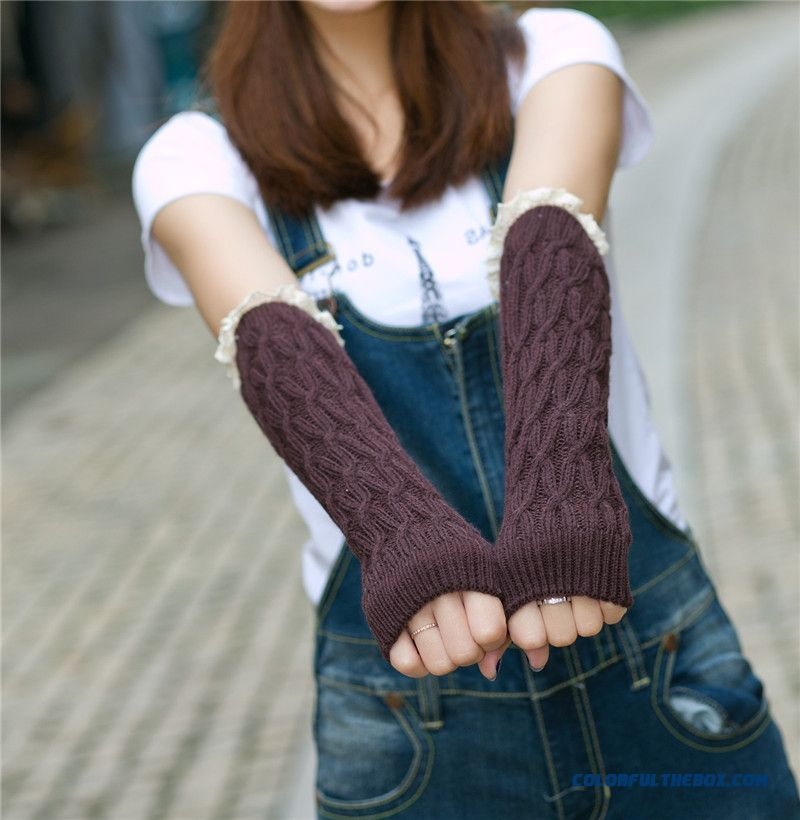 Lovely Warm Wool Lace Long Half-finger Arm Fake Sleeves Women Mittens Gloves For Women