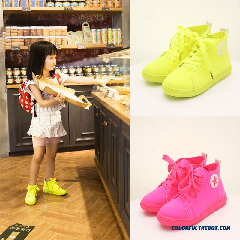 Low Cut Shoes Candy Colored Girls Elasticity Shoes Canvas Shoes Running Shoes For Kidsa
