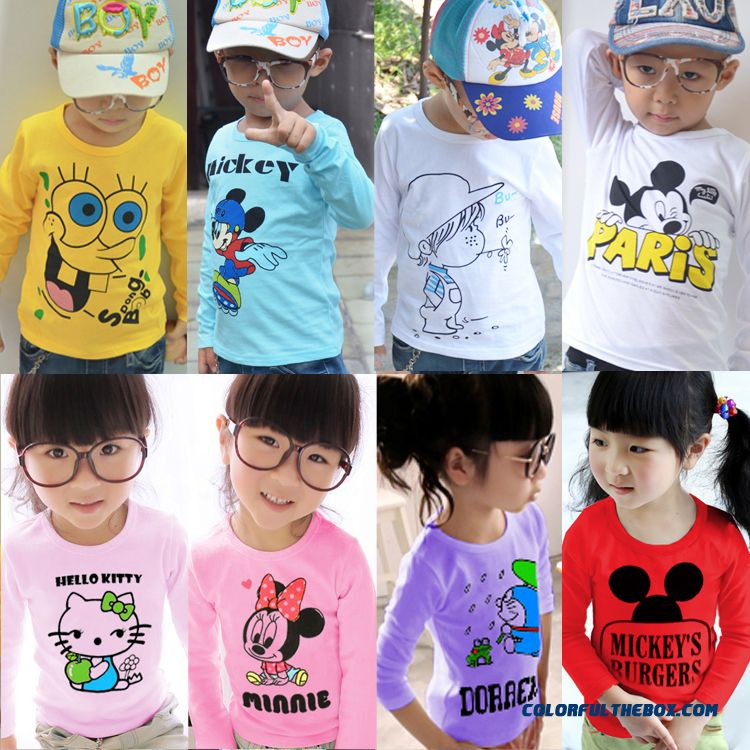 Low Price Girls And Boys Long-sleeved T-shirt Kids Baby Cotton Clothing Multi-style Selection