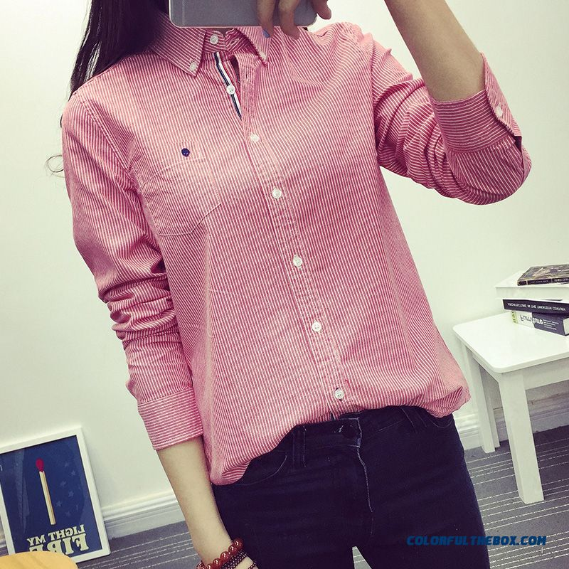 Low Price High Quality For Women Shirt Blouses Embroidery And Thin Lapel Striped Long-sleeved