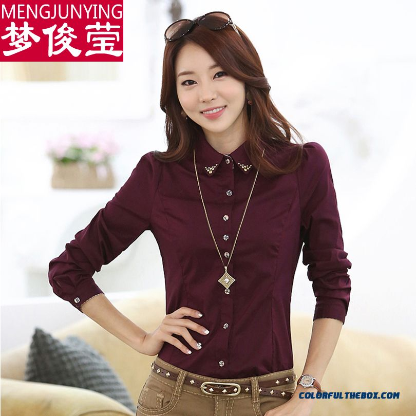 Low Price High Quality For Women Shirts Long-sleeved Blouses Bottoming Shirt Slim