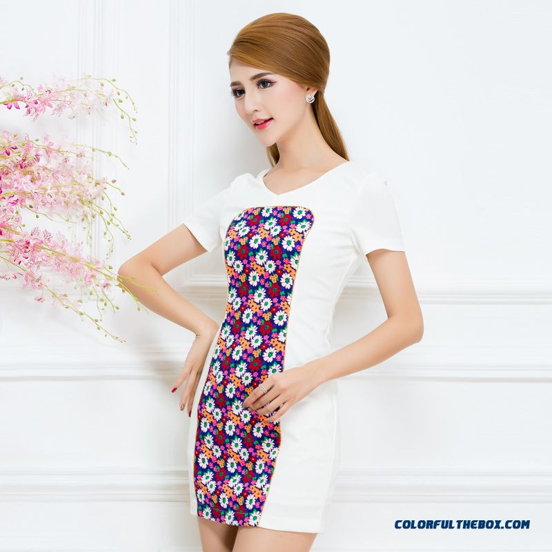 Low Price High-quality Short-sleeved Dress Stitching Slim Women Clothing