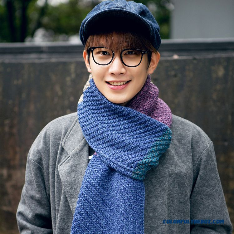 Low Price Wholesale Couple Knitted Wool Mixed Colors Scarves Men Accessories