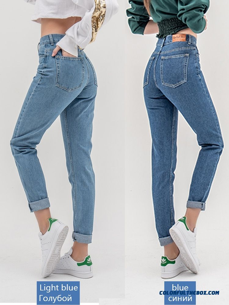 Luckinyoyo Jean Woman Mom Jeans Pants Boyfriend Jeans For Women With High Waist Push Up Large Size Ladies Jeans Denim 5xl 2019 - more images 1