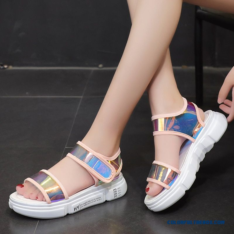 Lucyever 2019 New Summer Women Sandals Fashion Mixed Colors Pvc Famale Sandals Ladies Comfort Flat With Platform Shoes Woman