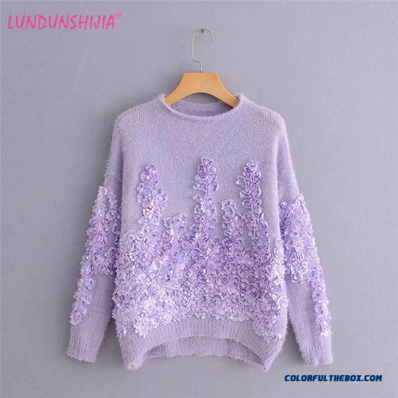Lundunshijia 2018 Autumn Three-dimensional Flowers Petals Imitation Mink Cashmere Sweaters Women Loose Purple Gray Pullovers