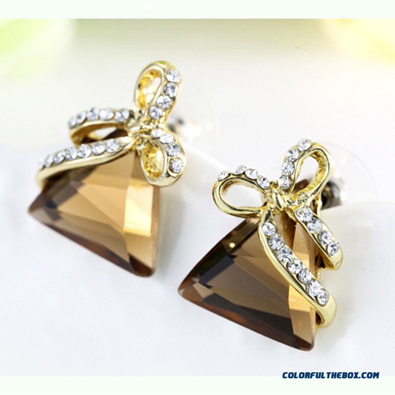 Luxury Women's Jewelry Crystal Triangle Earrings With A Bow