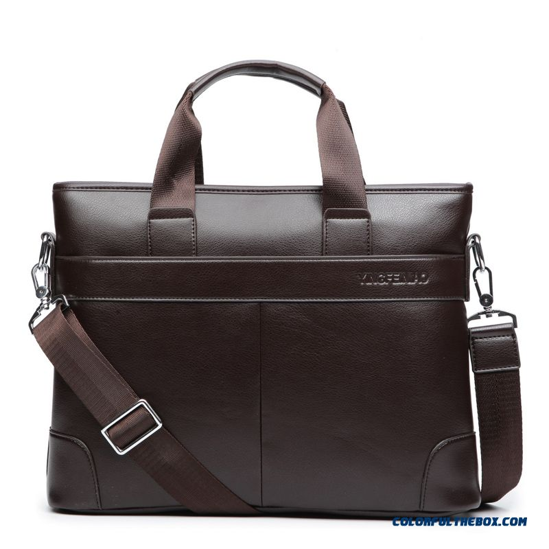 Mature Men Preferred Handbag Horizontal Style Of Genuine Leather Business Briefcase