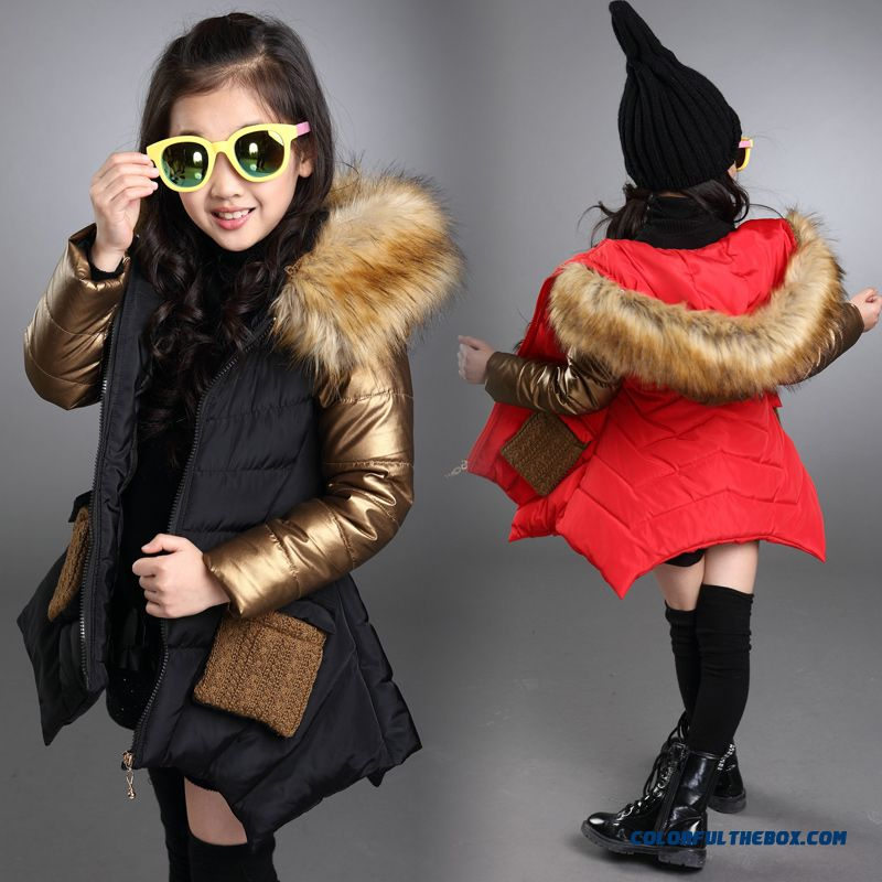 Medium-long Fashionable Big Girls Personality Irregular Hem Cotton Coats Jacket Black Cloti=hing For Kids - more images 1