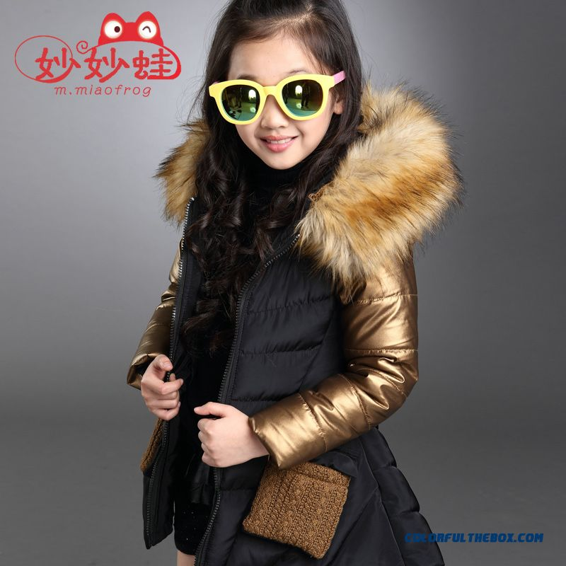 Medium-long Fashionable Big Girls Personality Irregular Hem Cotton Coats Jacket Black Cloti=hing For Kids - more images 2