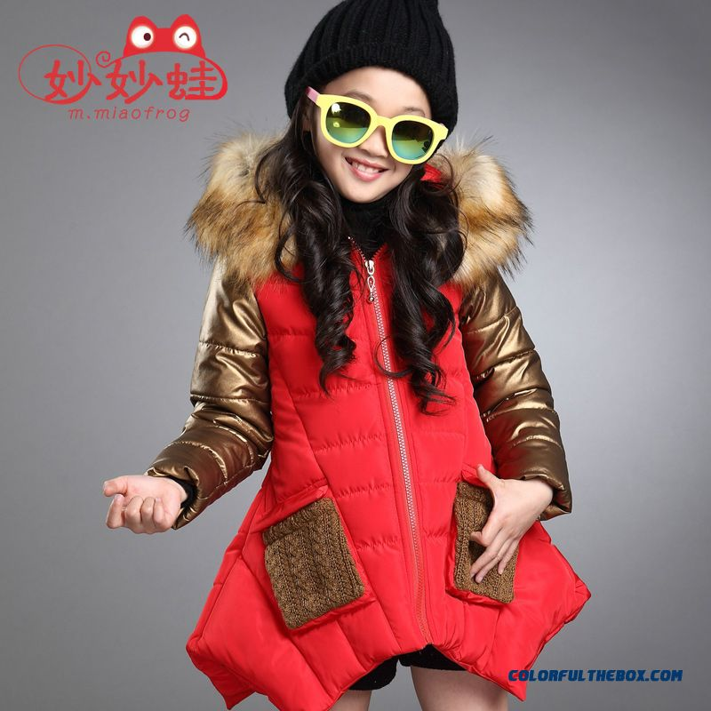 Medium-long Fashionable Big Girls Personality Irregular Hem Cotton Coats Jacket Black Cloti=hing For Kids - more images 3