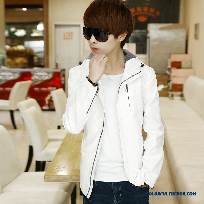 Men Autumn Jacket Slim Plus Velvet Thicken Casual White Vogue Young