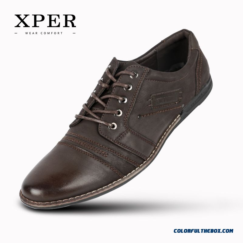 Men Casual Shoes Lace-up Men Breathable Shoes Daily Shoes For Men Brown Chaussure Big Size 39-44 For Sale