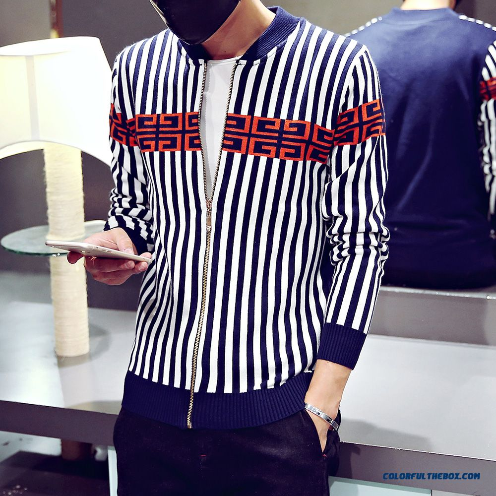 Men Clothing Cardigan Knitwear Coat Autumn Thin Sweaters Hit Color Long Sleeve - more images 1