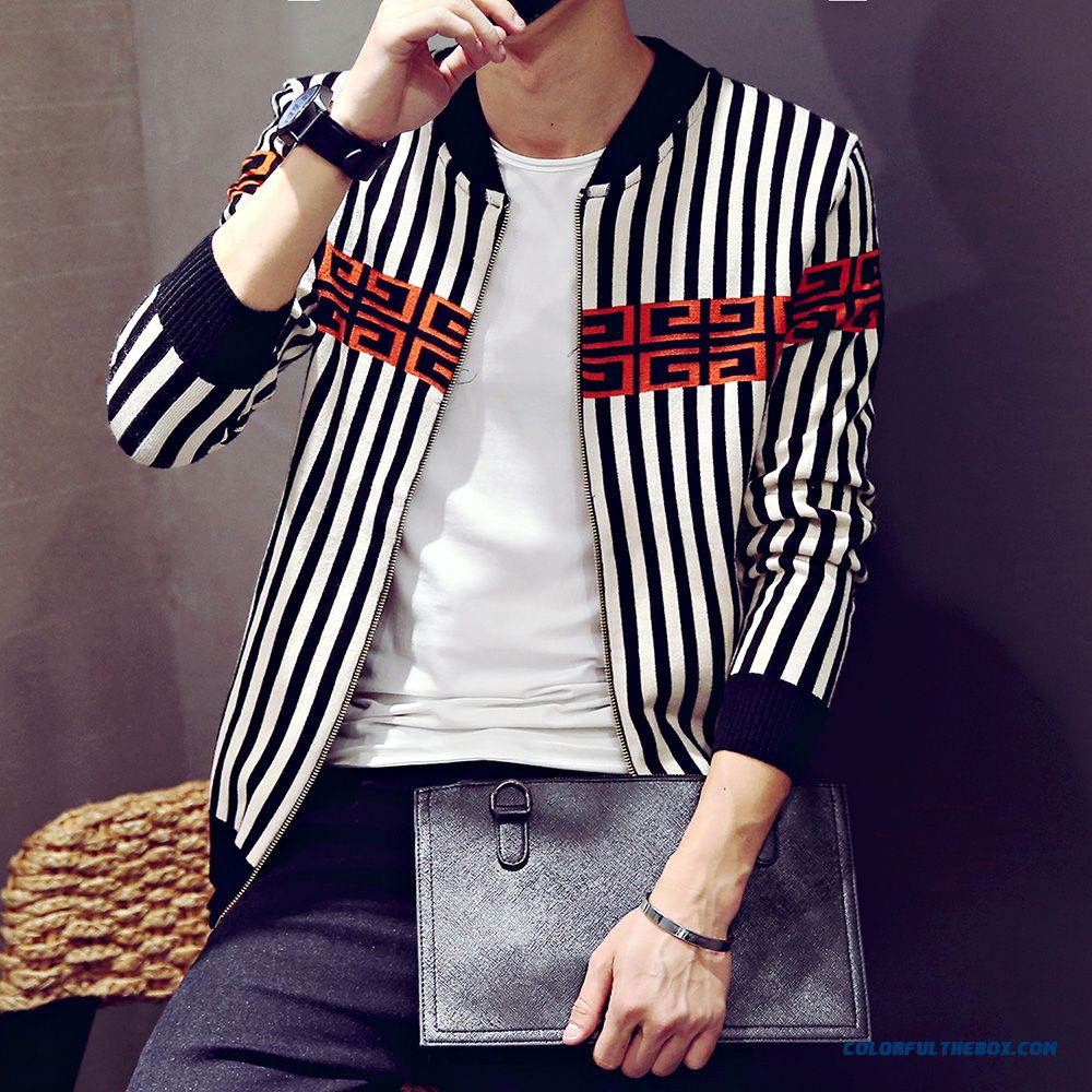 Men Clothing Cardigan Knitwear Coat Autumn Thin Sweaters Hit Color Long Sleeve - more images 2
