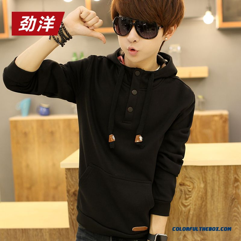 Men Clothing Hoodies Pullover Black Plus Thick Velvet Warm Fashion